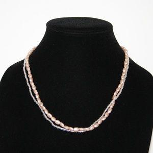 Beautiful pink multi layered necklace